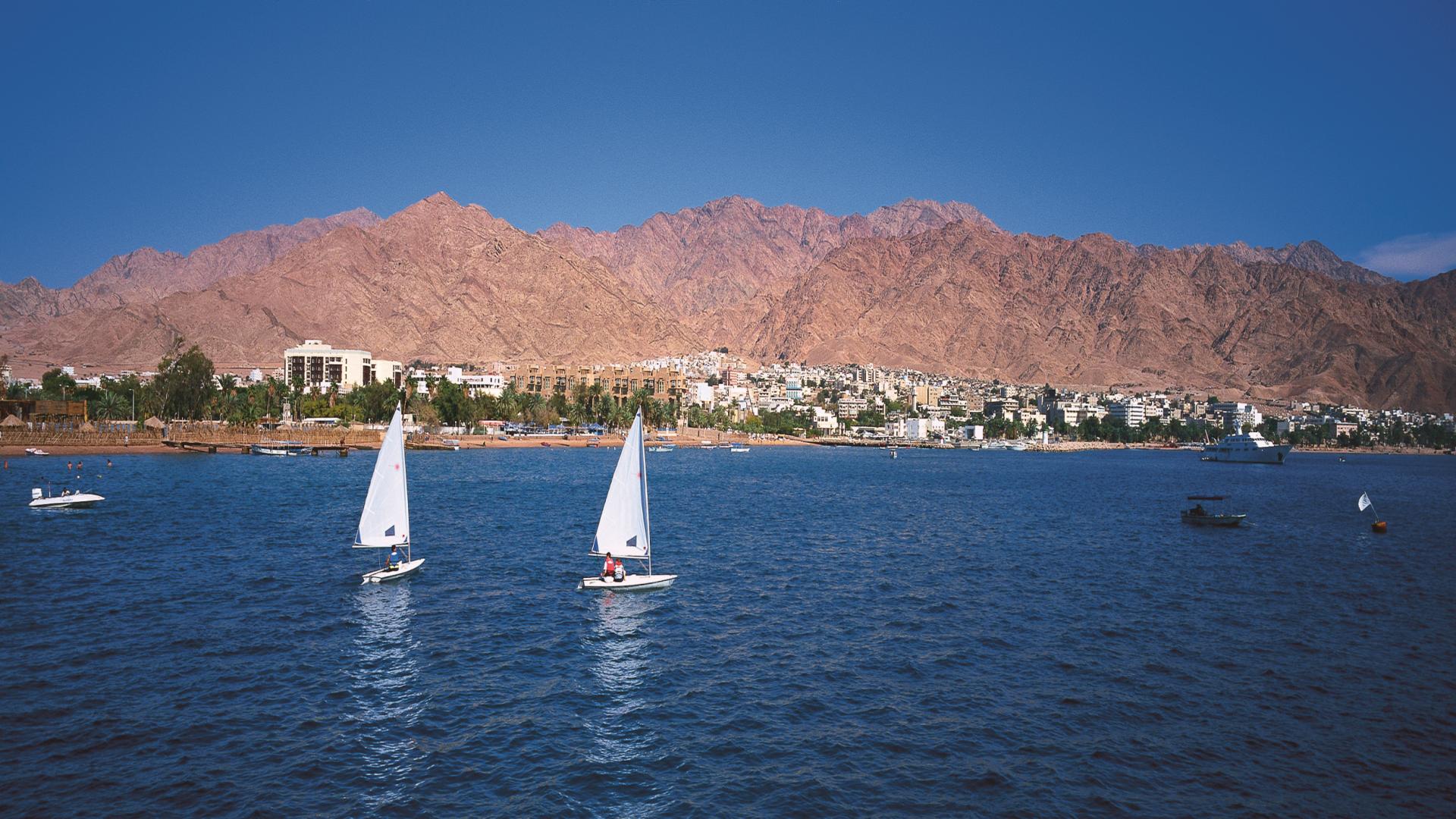 Bootjes bij Aqaba, Jordanië