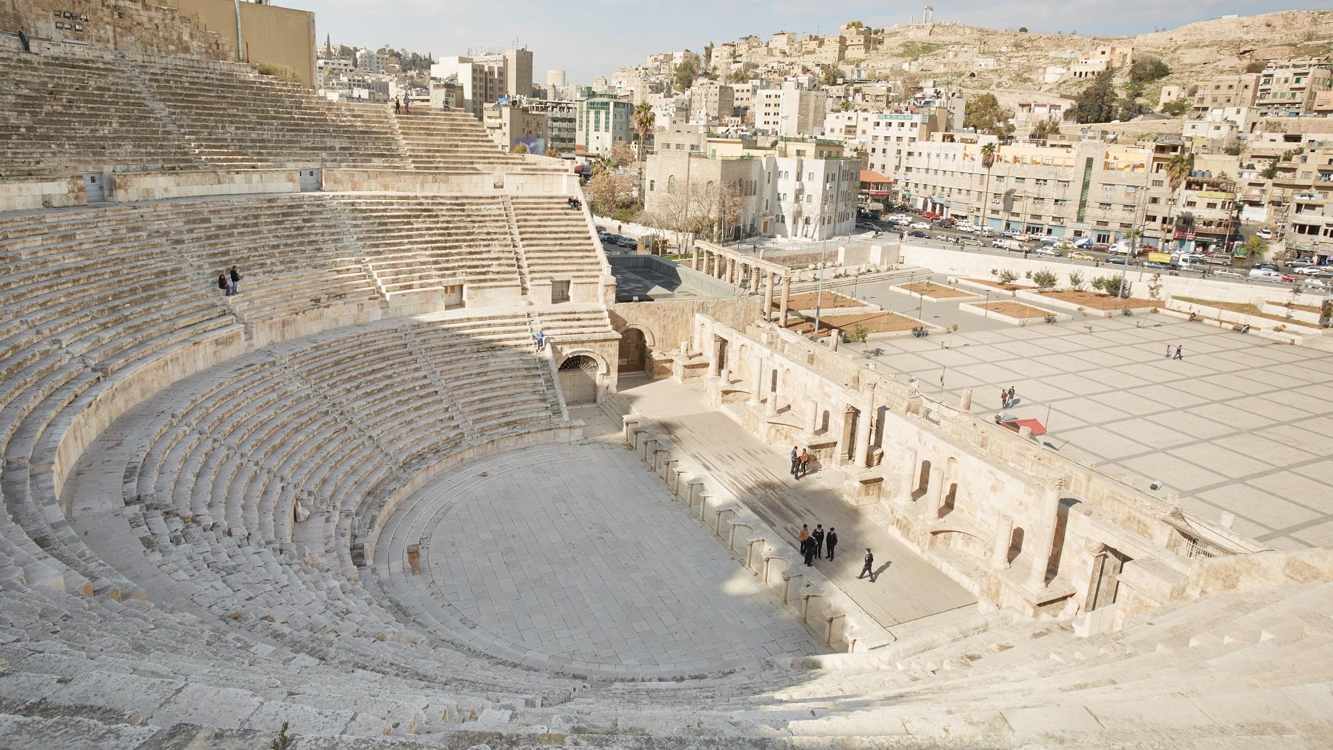 Een oud Romeins Theater in Amman, Jordanië