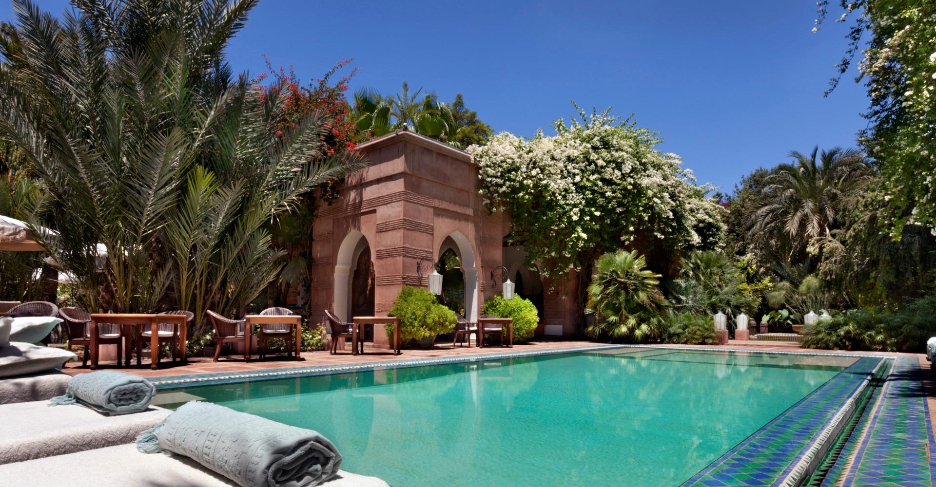 Zwembad van luxe Dar Rhizlane, Marrakech, Marokko