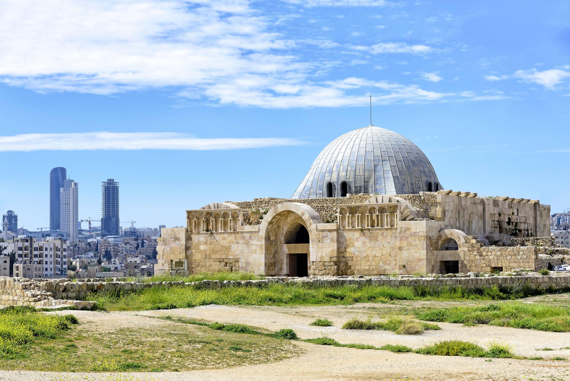 Umayyad Palace op de oude Citadel heuvel in Amman, Jordanië