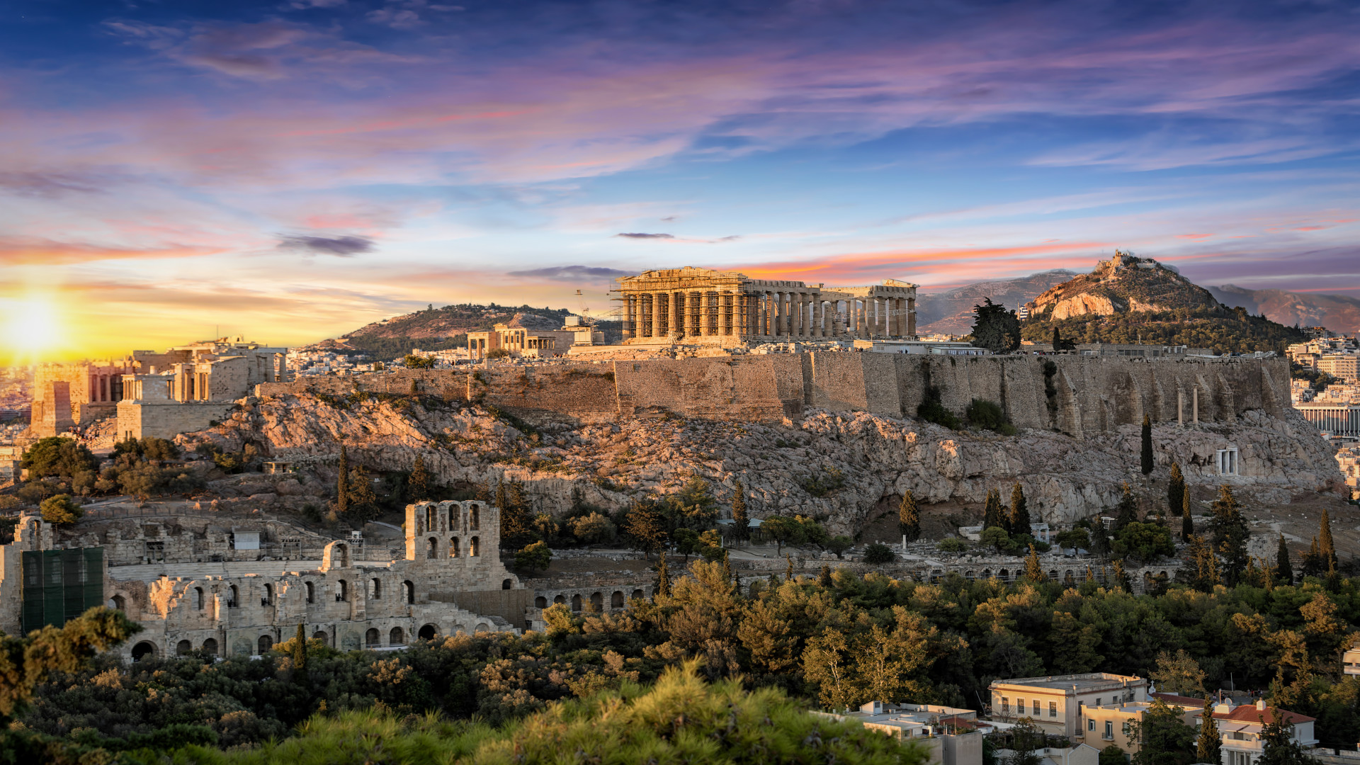 Zonsondergang Parthenon Tempel, Acropolis, Athens, Attica, Griekenland