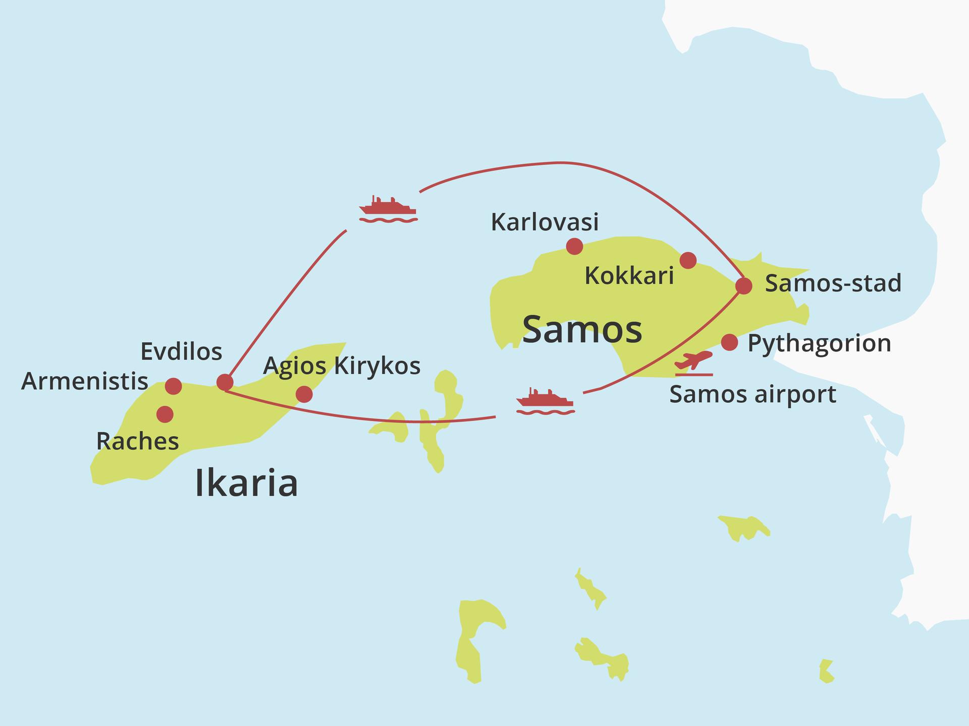 Kaart eilandhoppen Ikaria - Samos
