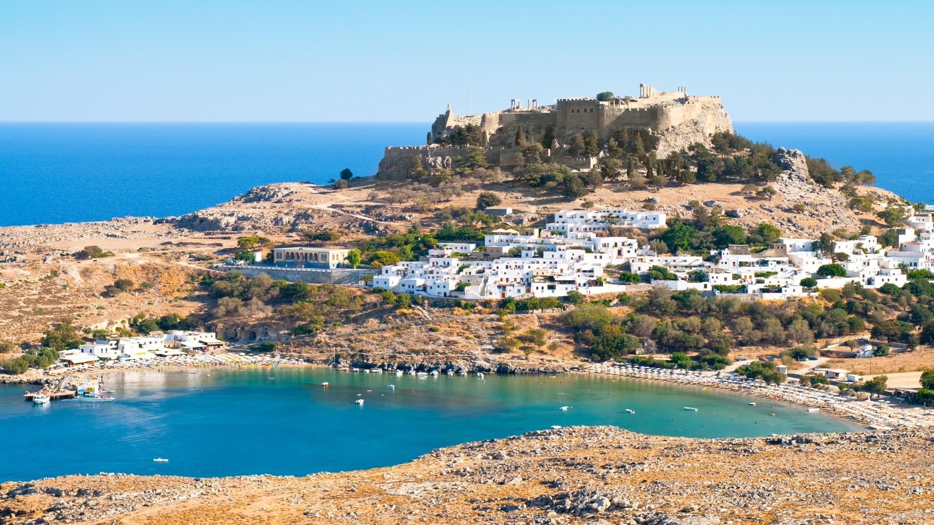 Acropolis in de oude Griekse stad Lindos, Rhodos Eiland, Griekenland