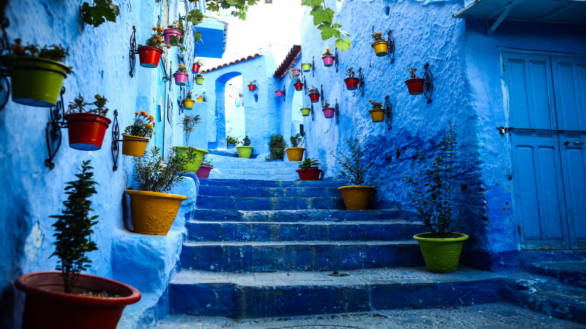 Blauw straatje met gekleurde potten, Chefchaouen Marokko