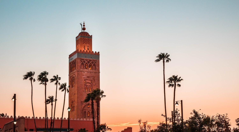 Zonsondergang Koutoubia moskee, Marrakech, Marokko