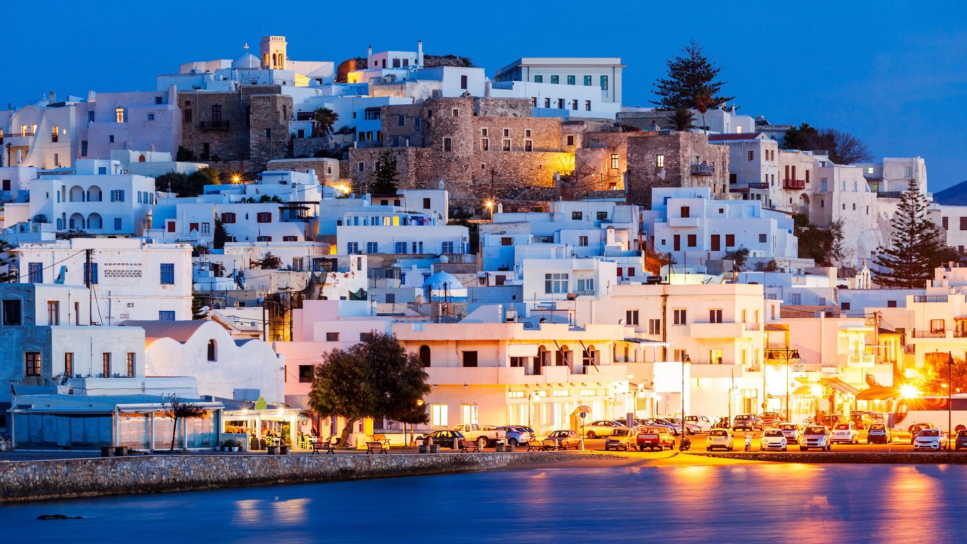 Naxos-stad op het Griekse eiland Naxos