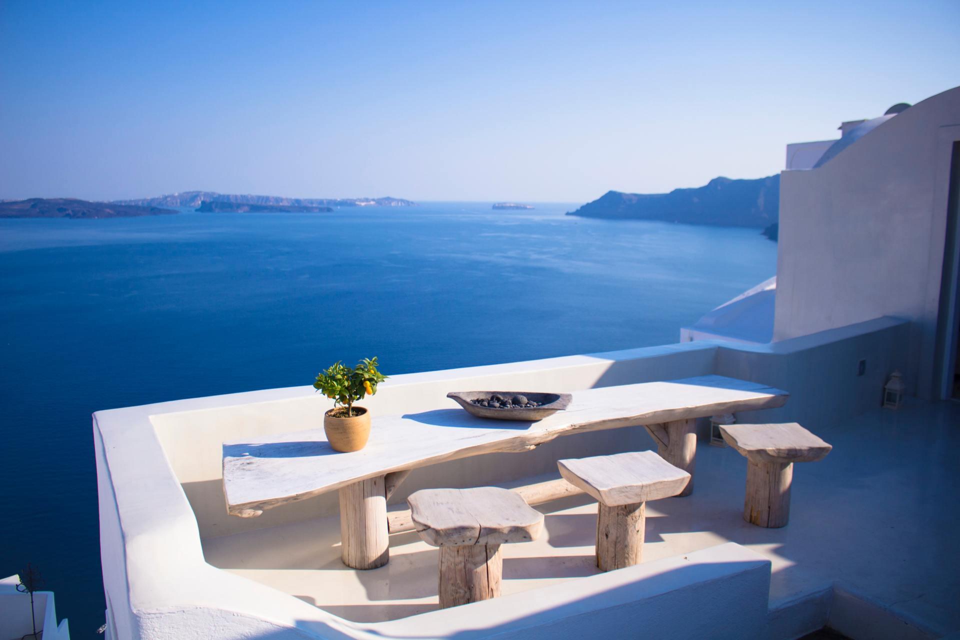 Het prachtige uitzicht van een Grieks eiland