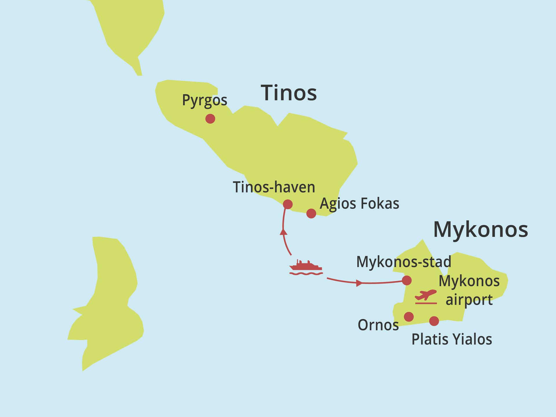 Kaartje eilandhoppen Tinos - Mykonos