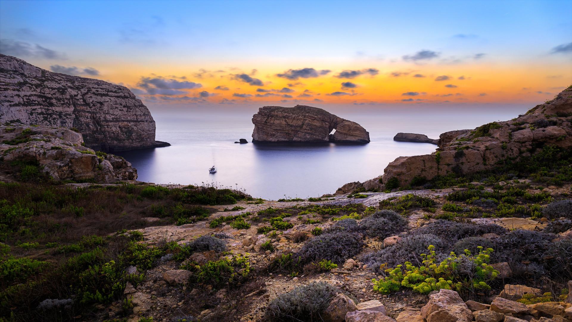 Zonsondergang Fungus Rock, Gozo, Malta