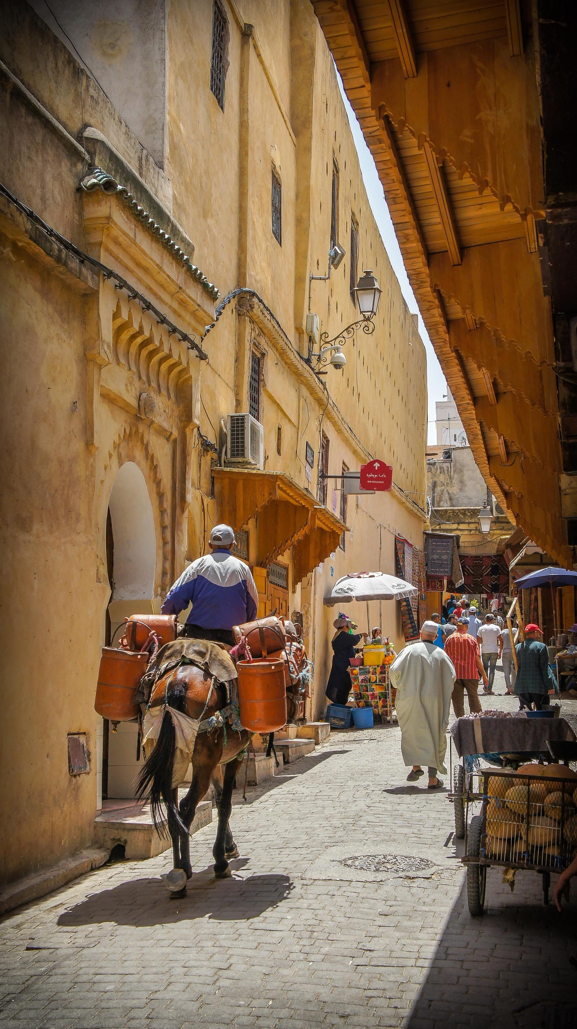 Straten in Fes, Marokko