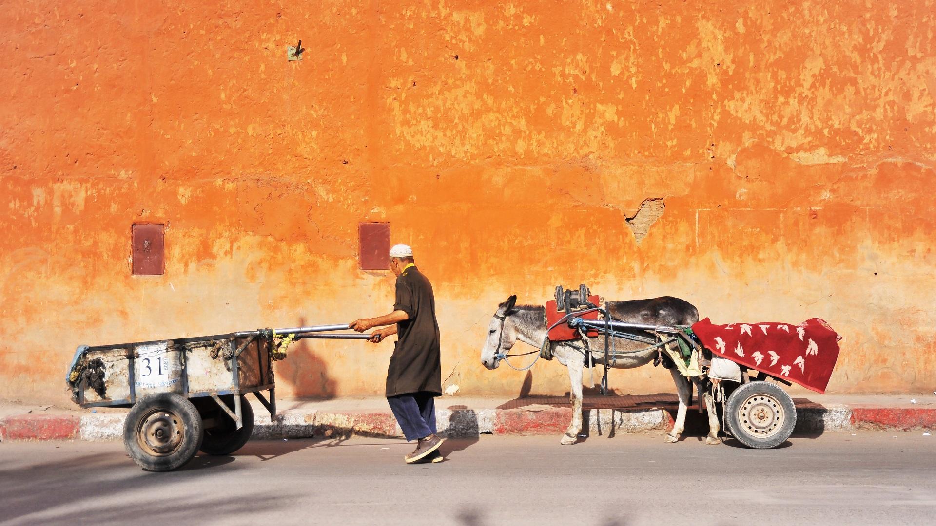 Man met ezel op straat in Marokko