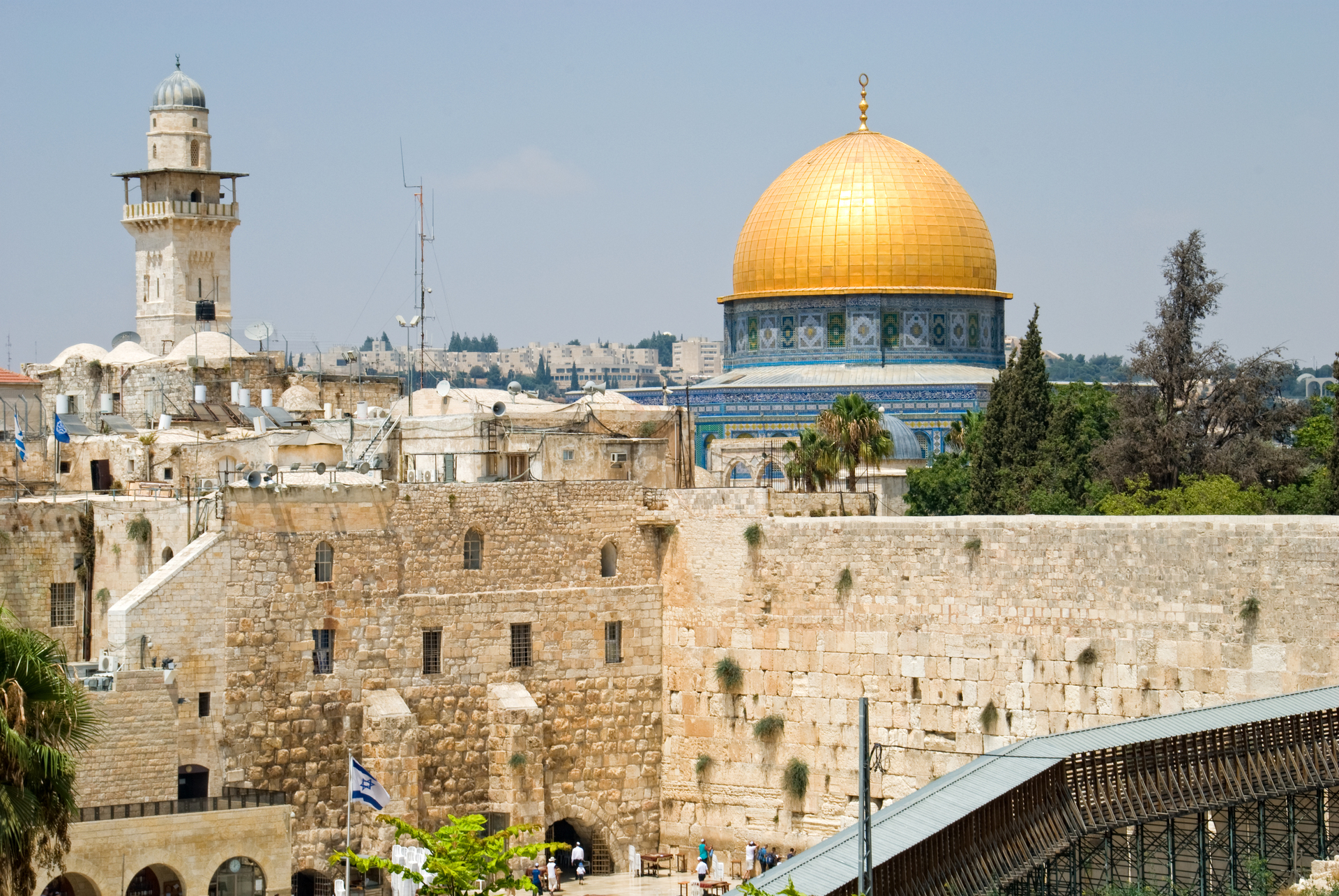 Gouden rotskoepel en Klaagmuur, Jeruzalem, Israël