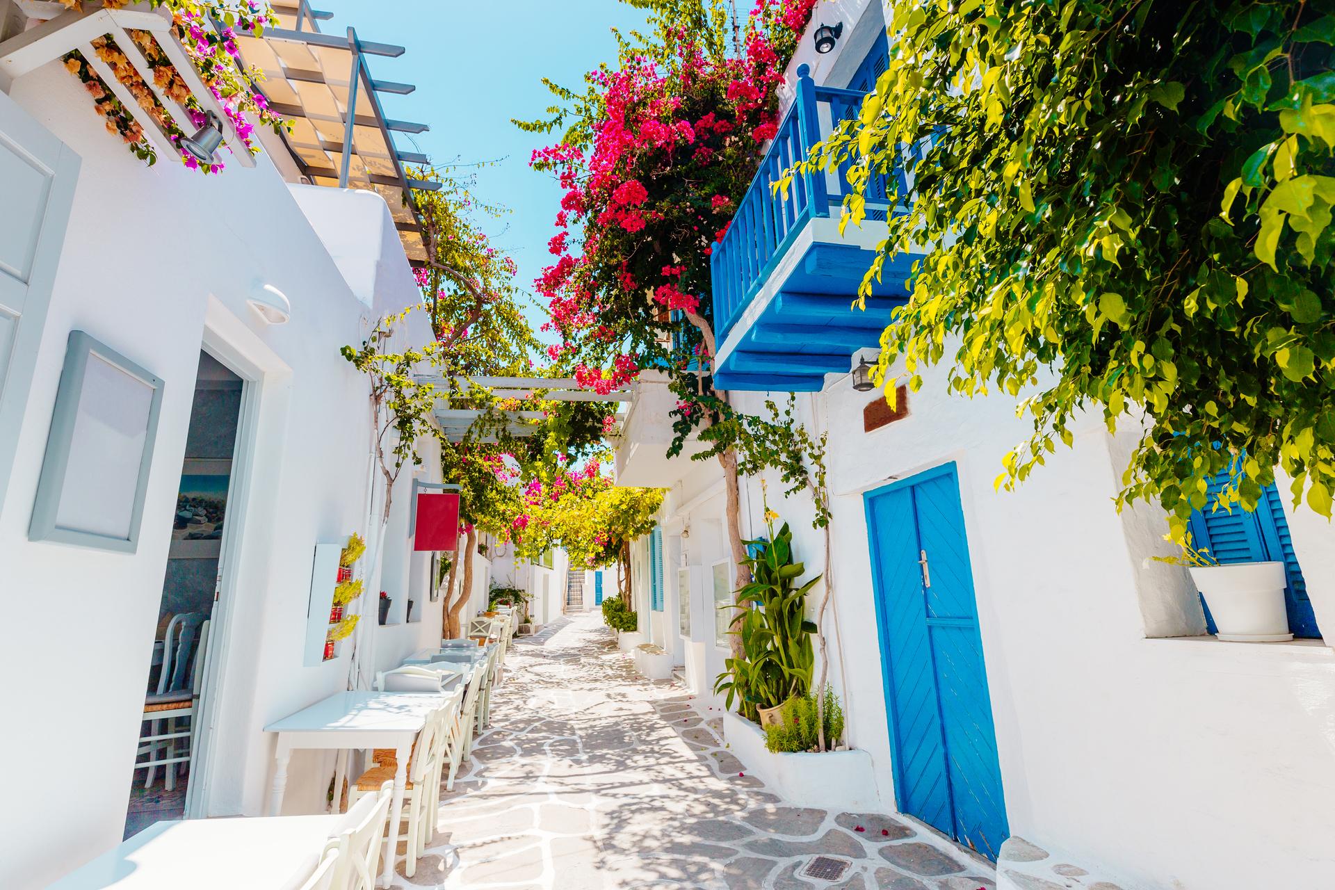 Traditionele Griekse straat met kleurrijke bloemen en blauwe deuren op het eiland Paros, Griekenland