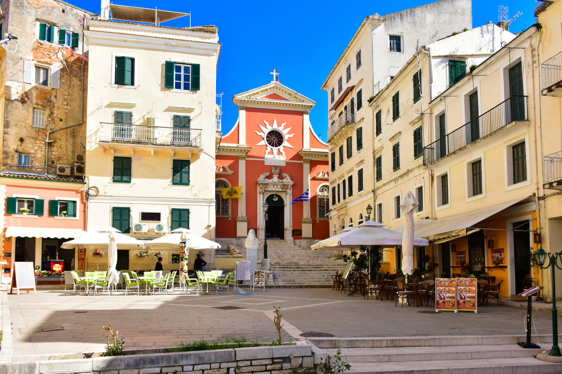 Plein Corfu Stad, Corfu, Griekenland