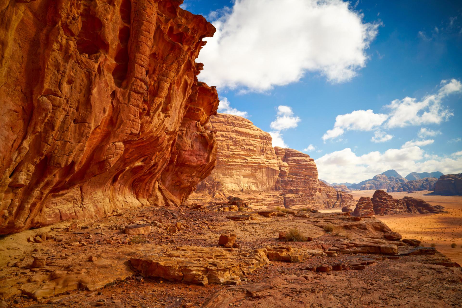 Landschap Wadi Rum Woestijn, Jordanië