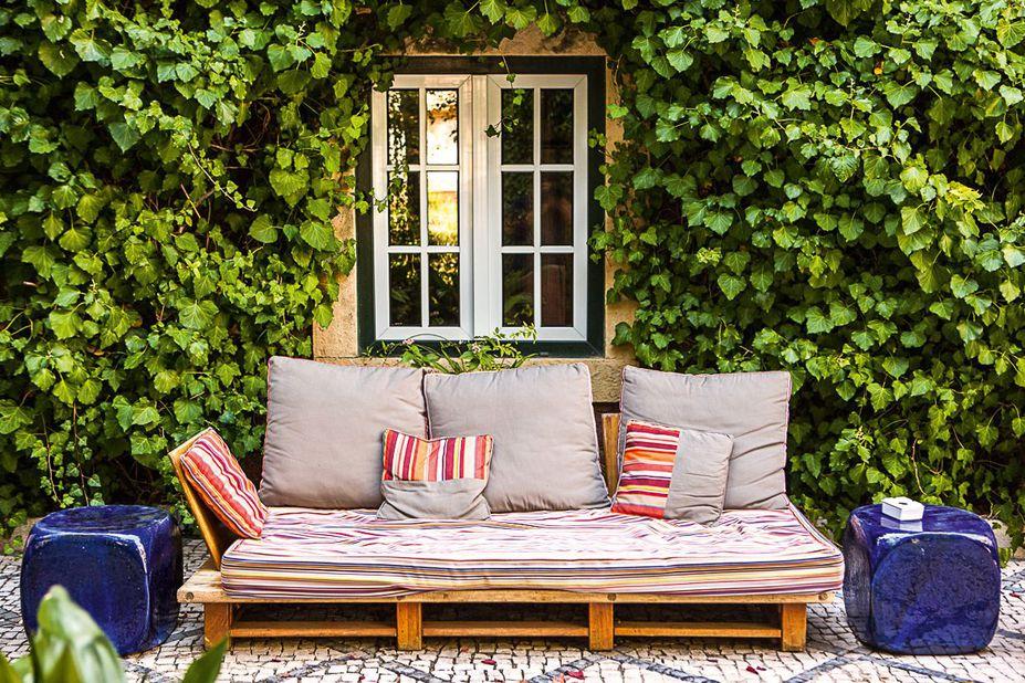 Een gezellig bankje voor een mooie groene muur