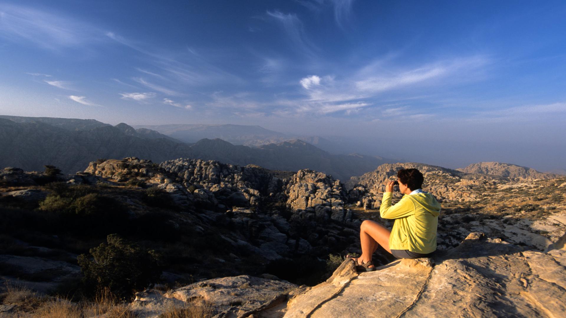 Vanaf plateau kijkend over landschap van Dana, Jordanië
