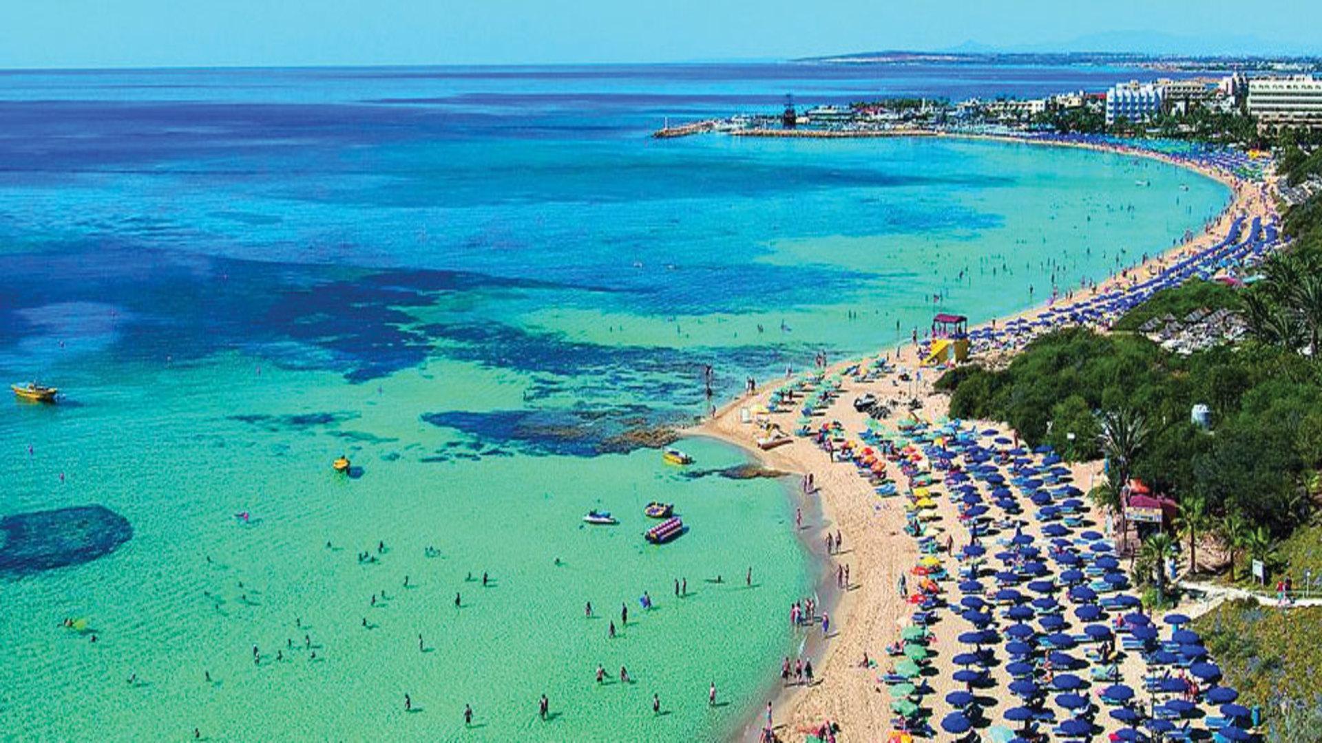 Het prachtige strand bij Protaras op Cyprus