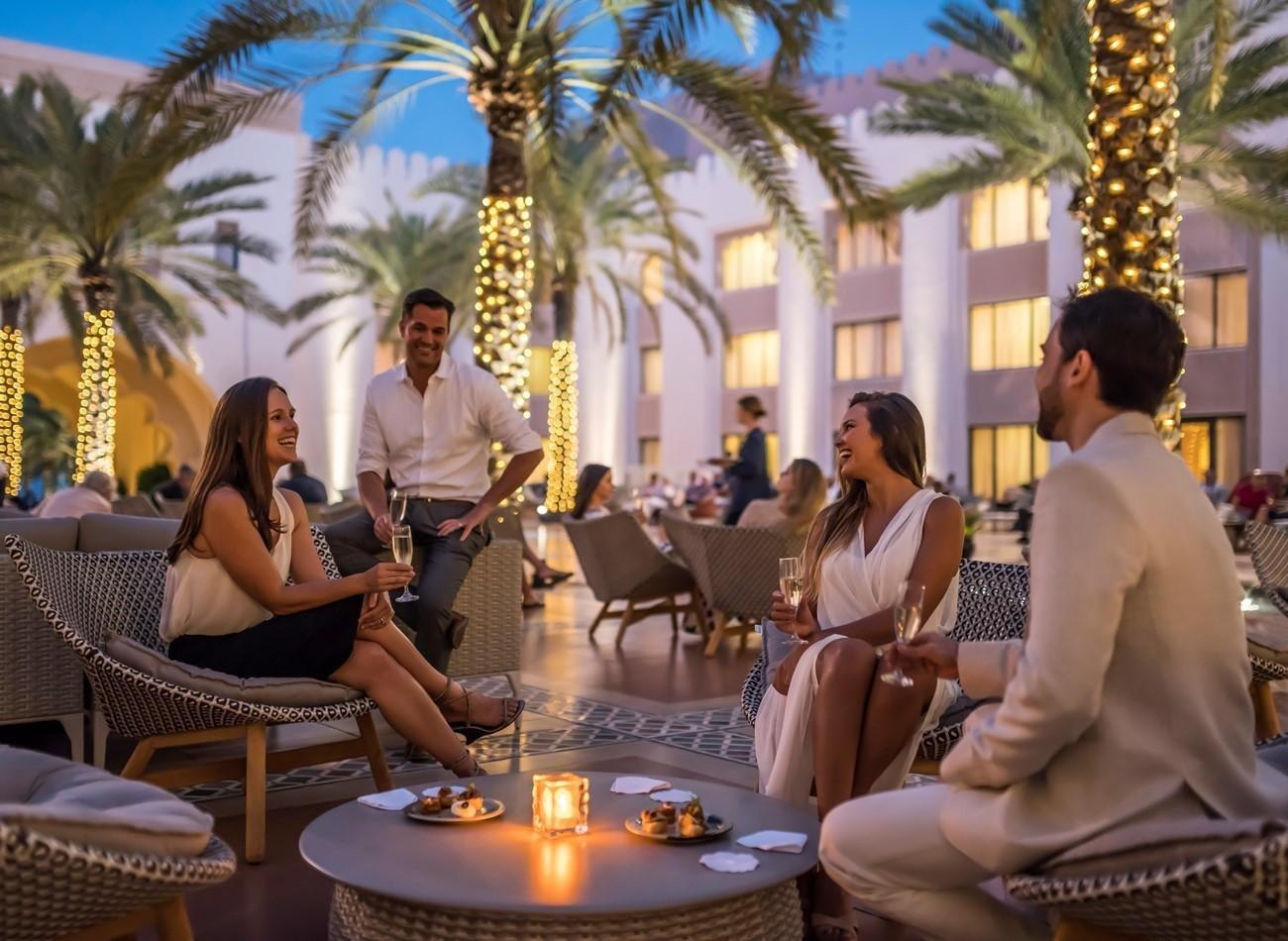 Hotel Shangri-La Al Husn pre-dinner drinks op het terras - Muscat