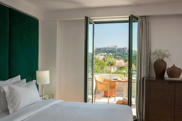 Athenaeum Eridanus Luxury hotel - deluxe kamer acropolis view