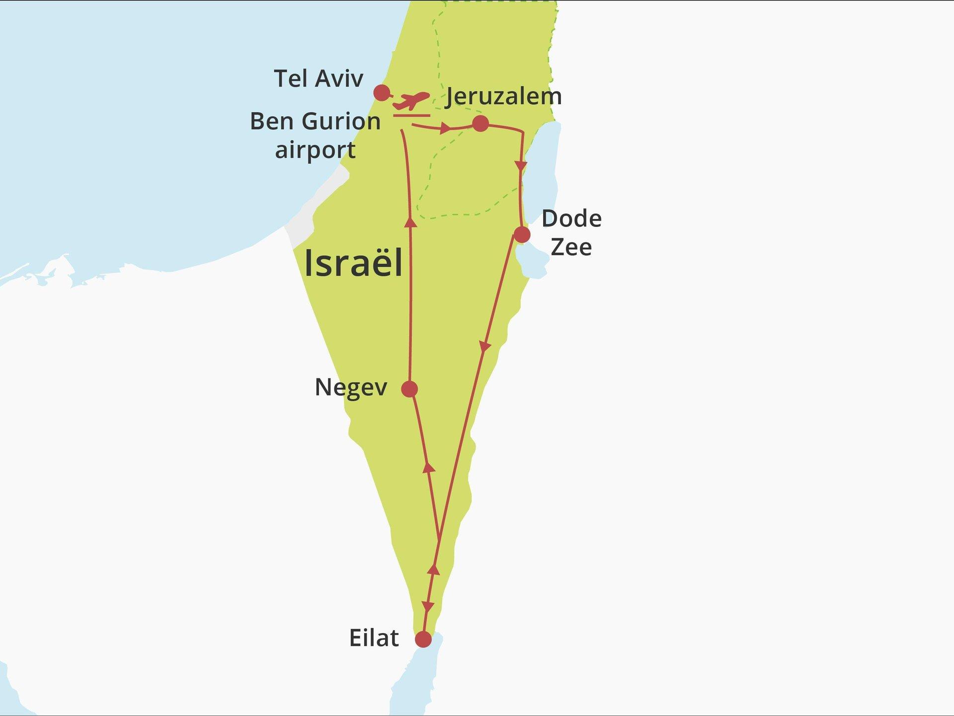 Kibboets country lodging  fly-drive Jeruzalem-Dode Zee-Eilat-Negev-Tel Aviv