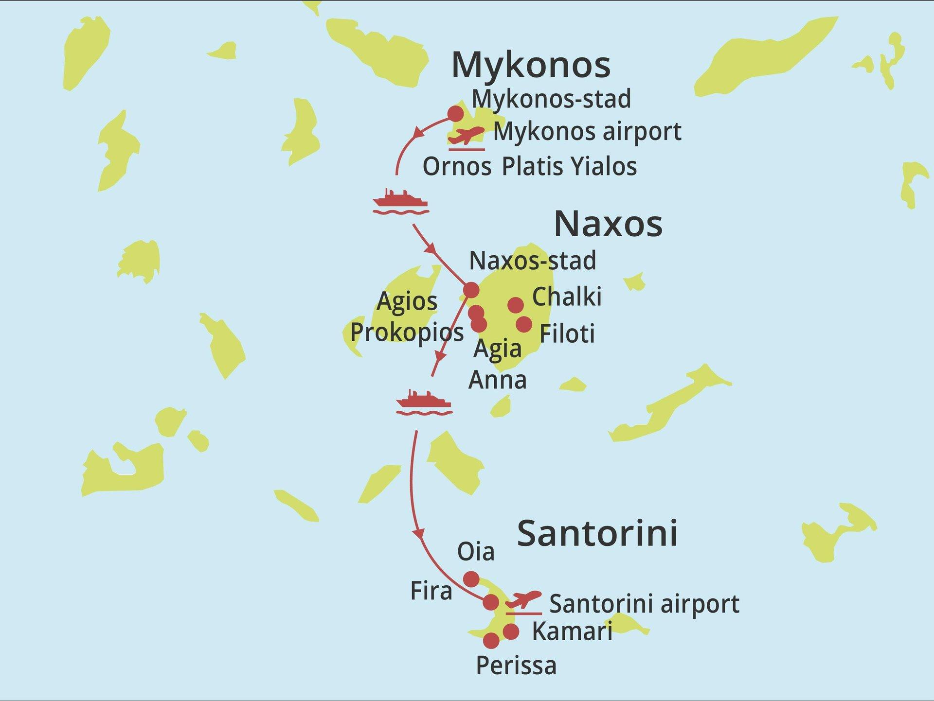 Eilandhoppen Mykonos - Naxos - Santorini