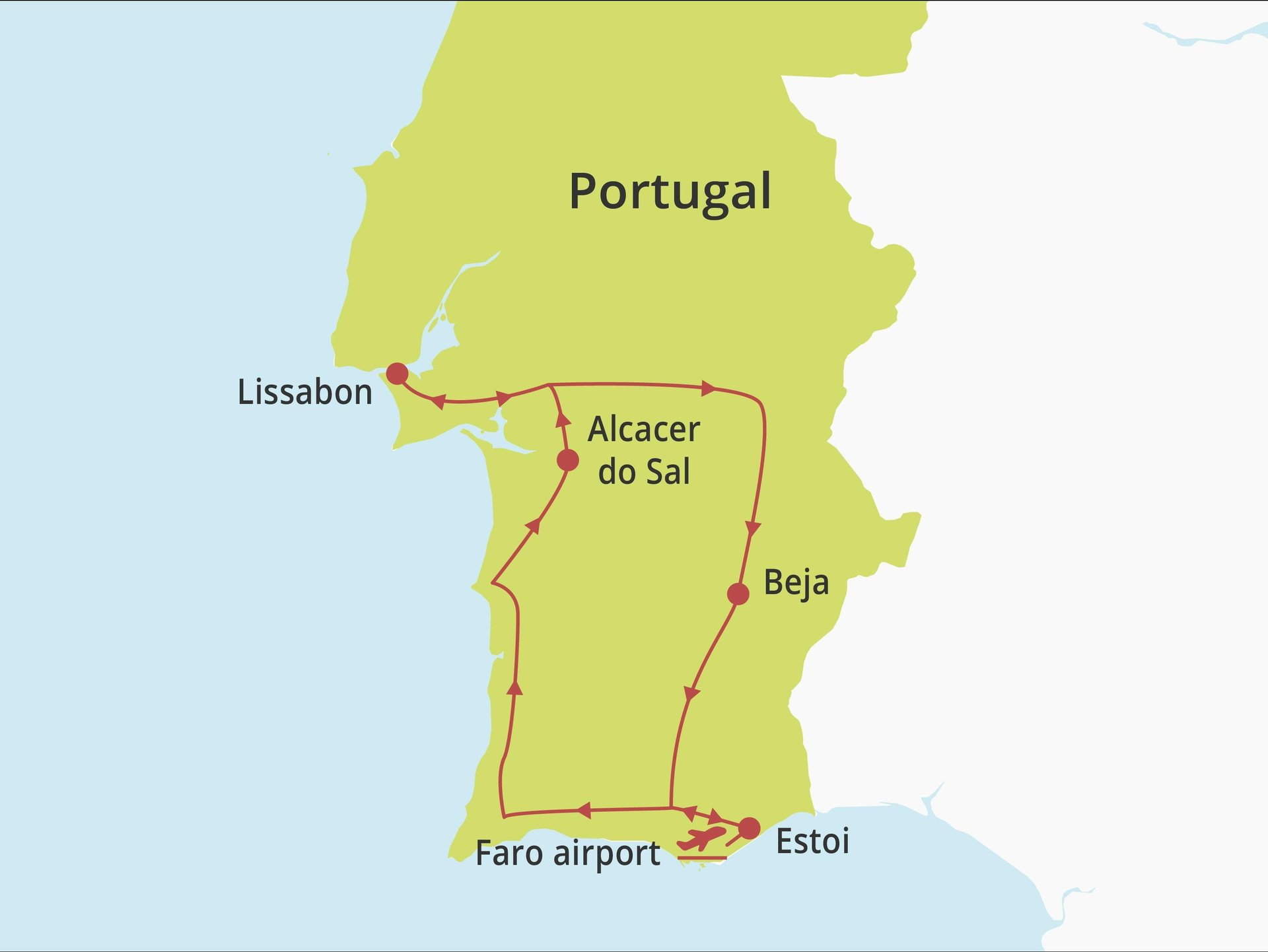 Fly-drive Pousada Gourmet Algarve-Alentejo-Lissabon