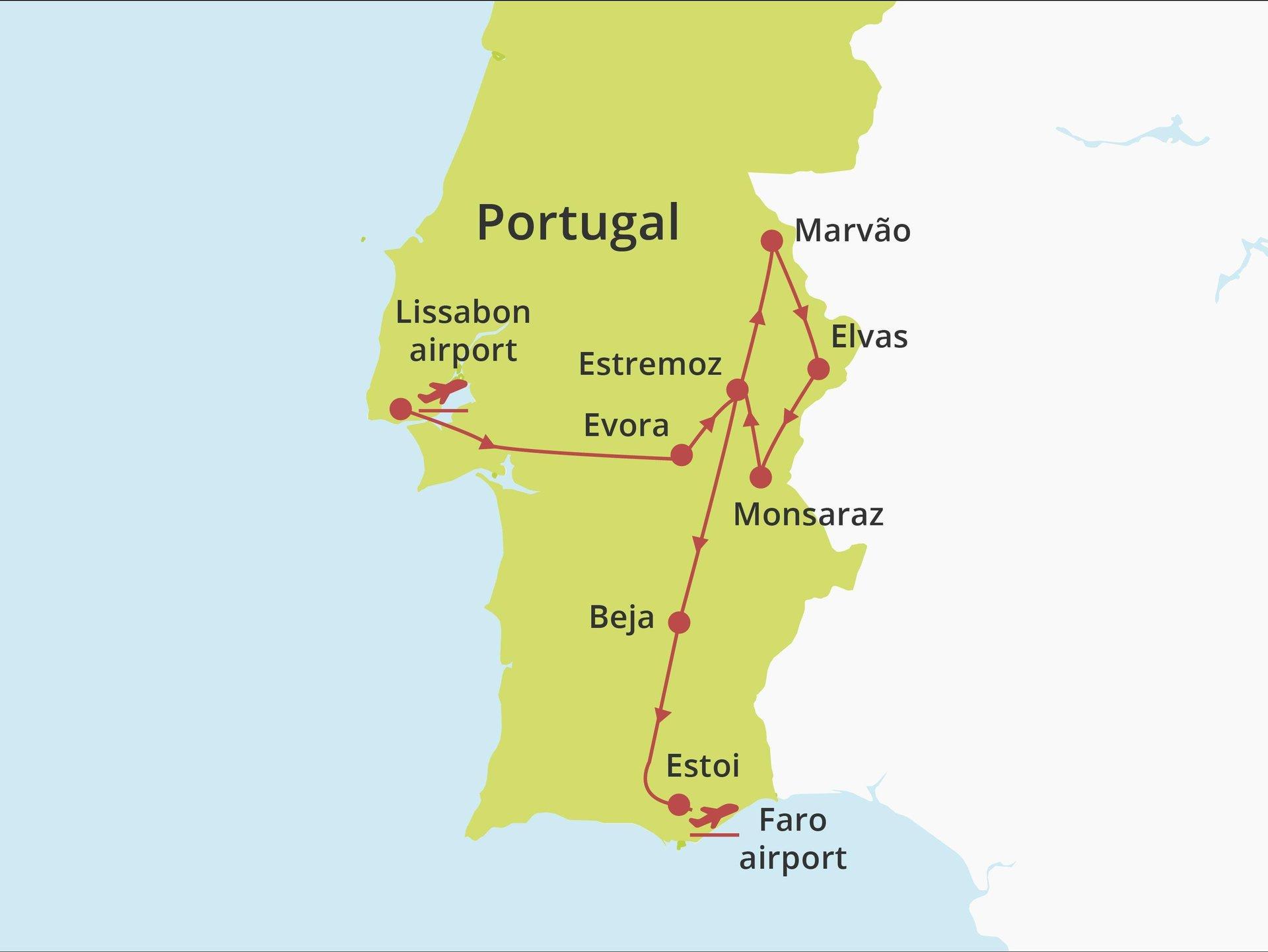 Fly-drive Alentejo en Algarve (pousadas) 8 dagen