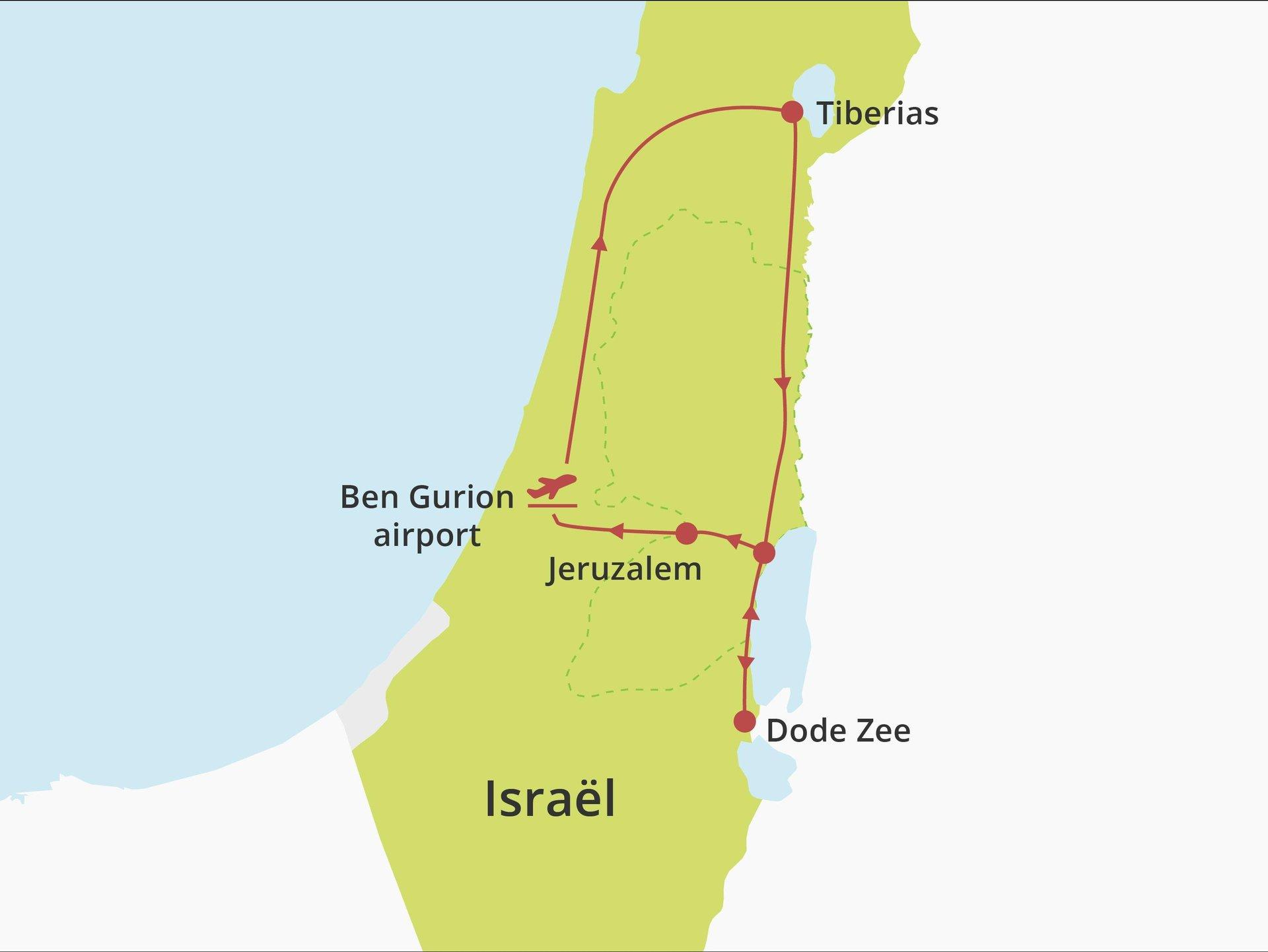 Kibboets fly-drive Noord-Dode Zee-Jeruzalem