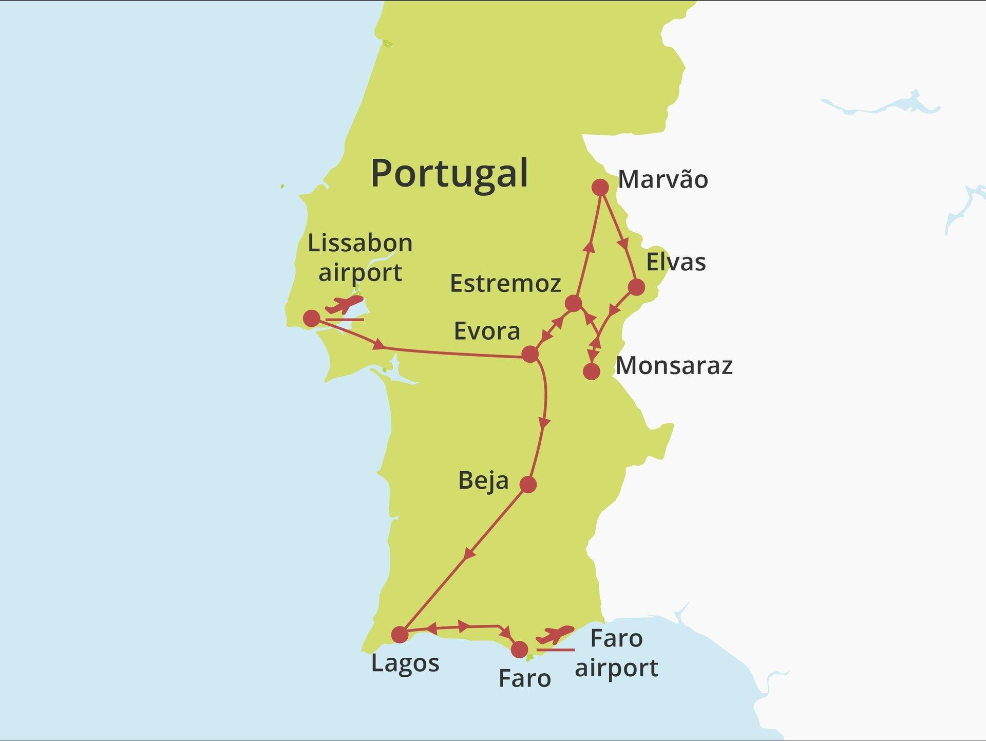 Fly-drive Alentejo en Algarve (hotels) 8 dagen