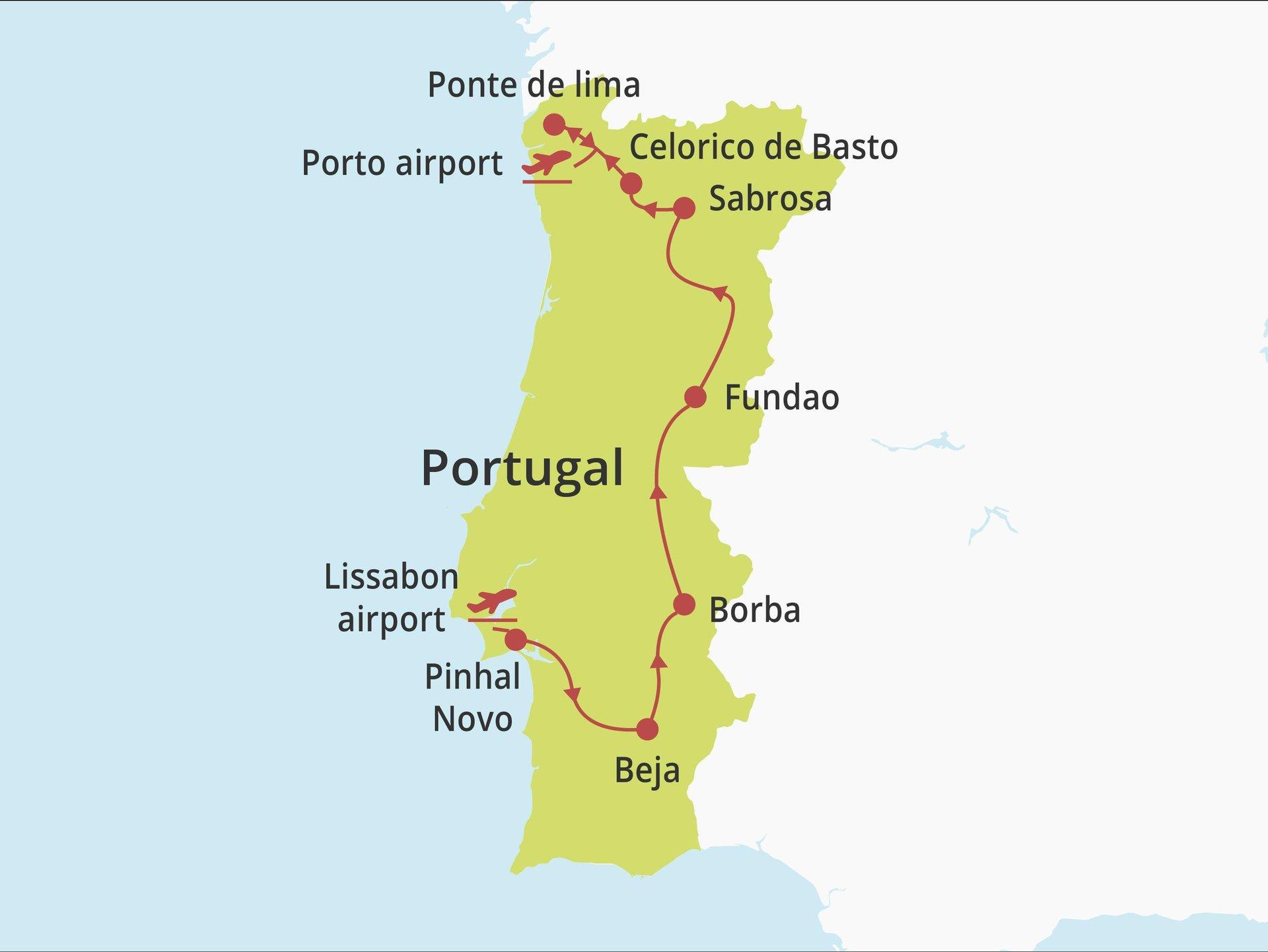 Fly-drive Van Lissabon naar Porto (solares) 15 dagen