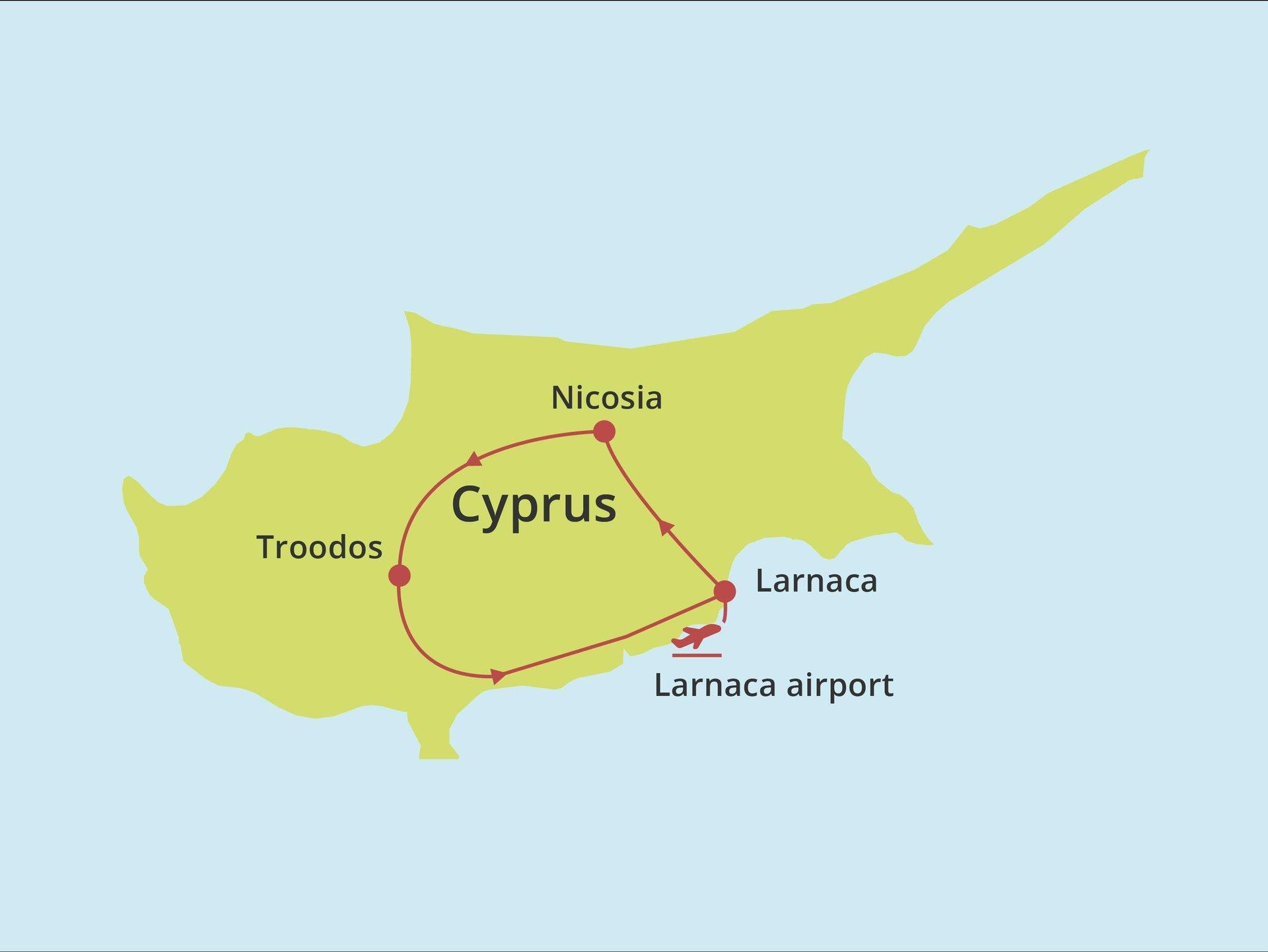 Fly-drive Nicosia & Troodos