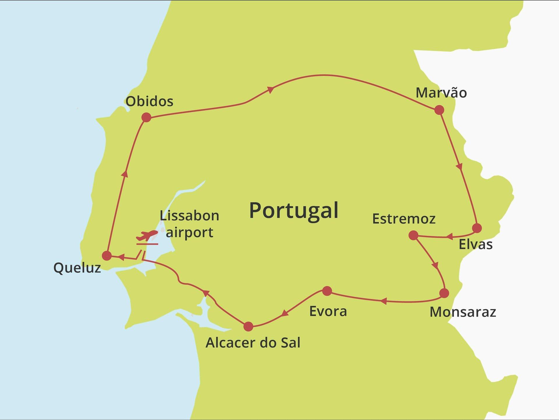 Fly-drive Lissabon en Alentejo (pousadas) 8 dagen