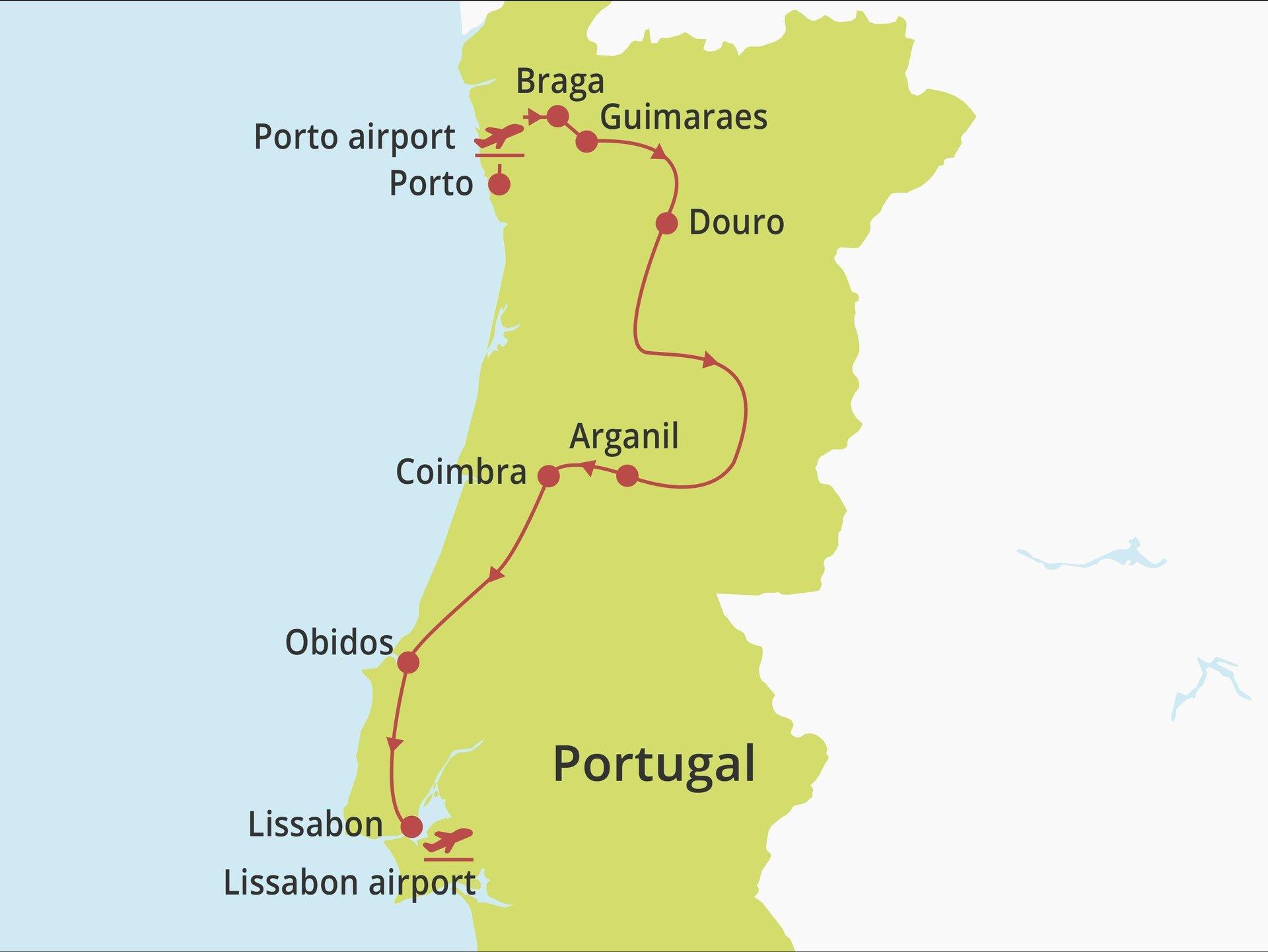 Fly-drive Noord, Centraal en Lissabon (hotels) 11 dagen