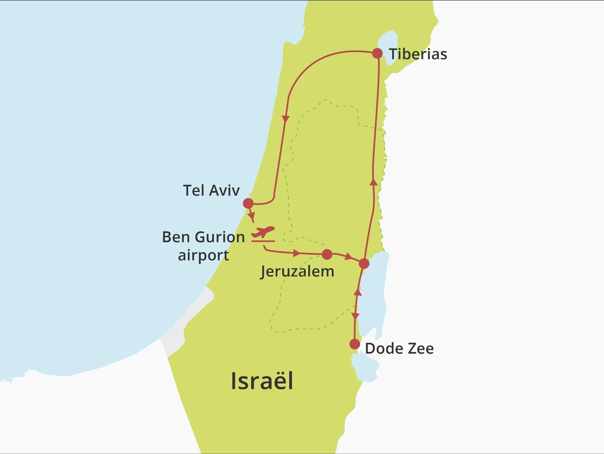 Kibboets country lodging  fly-drive Jeruzalem-Dode Zee-Noord-Tel Aviv