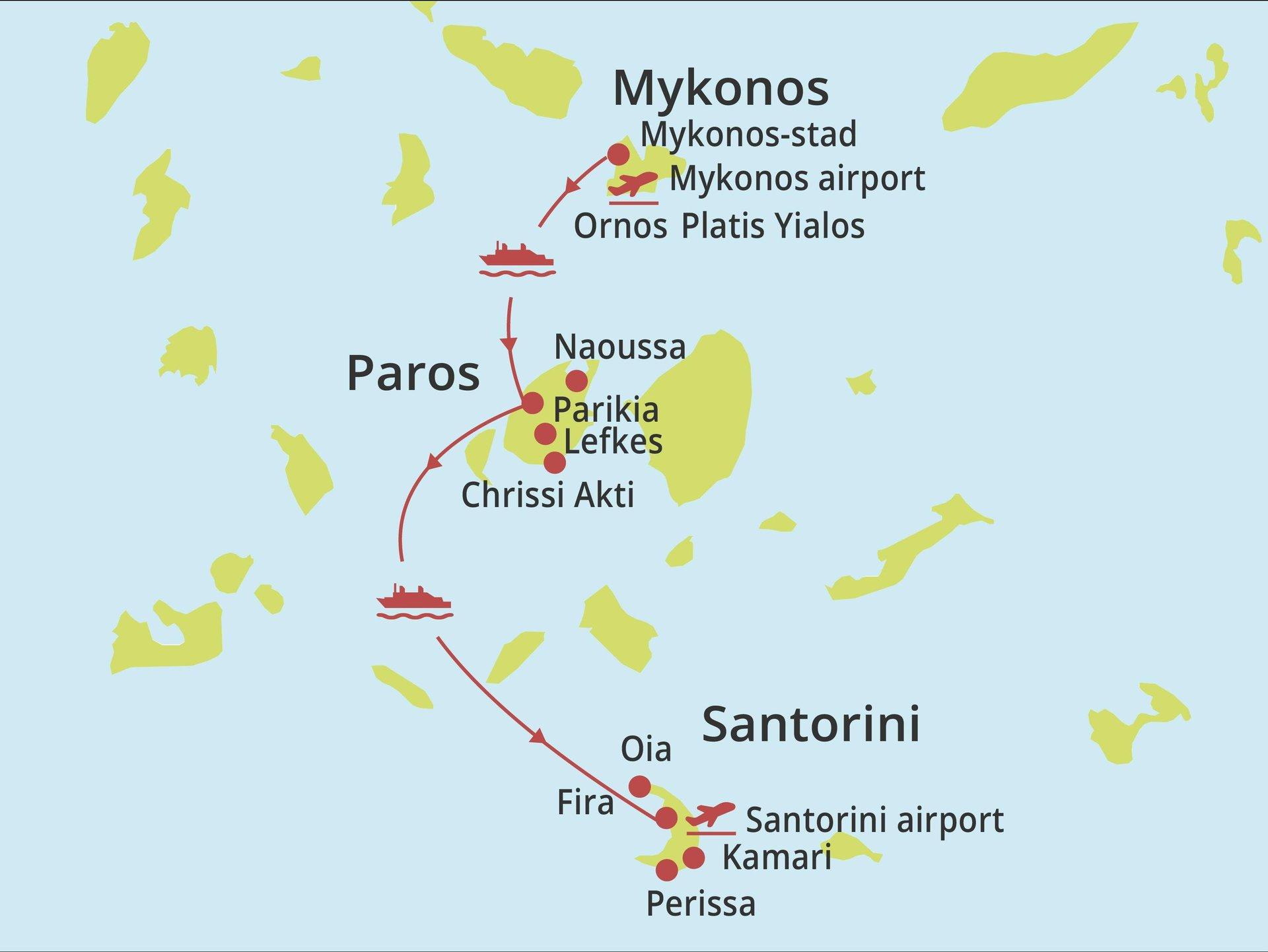Eilandhoppen Mykonos - Paros - Santorini