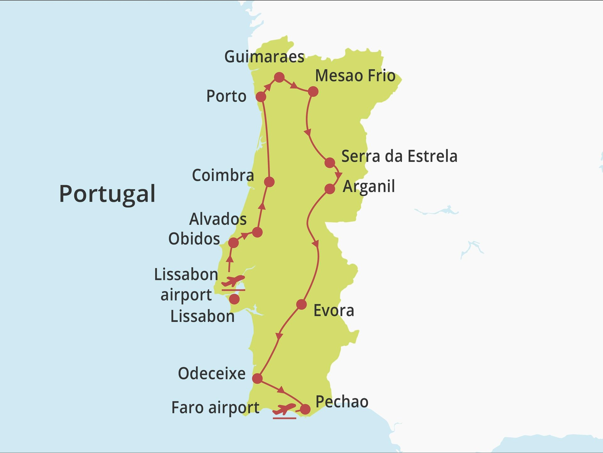 Fly-drive Ronde van Portugal (hotels) 17 dagen