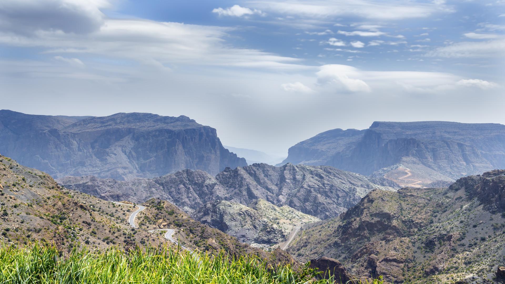 Uitzicht Saiq Plateau, Jebel Akhdar gebergte, Oman