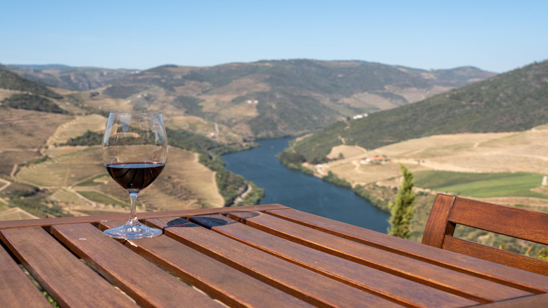 Glas rode Port op tafel met uitzicht op de Douro vallei, Portugal