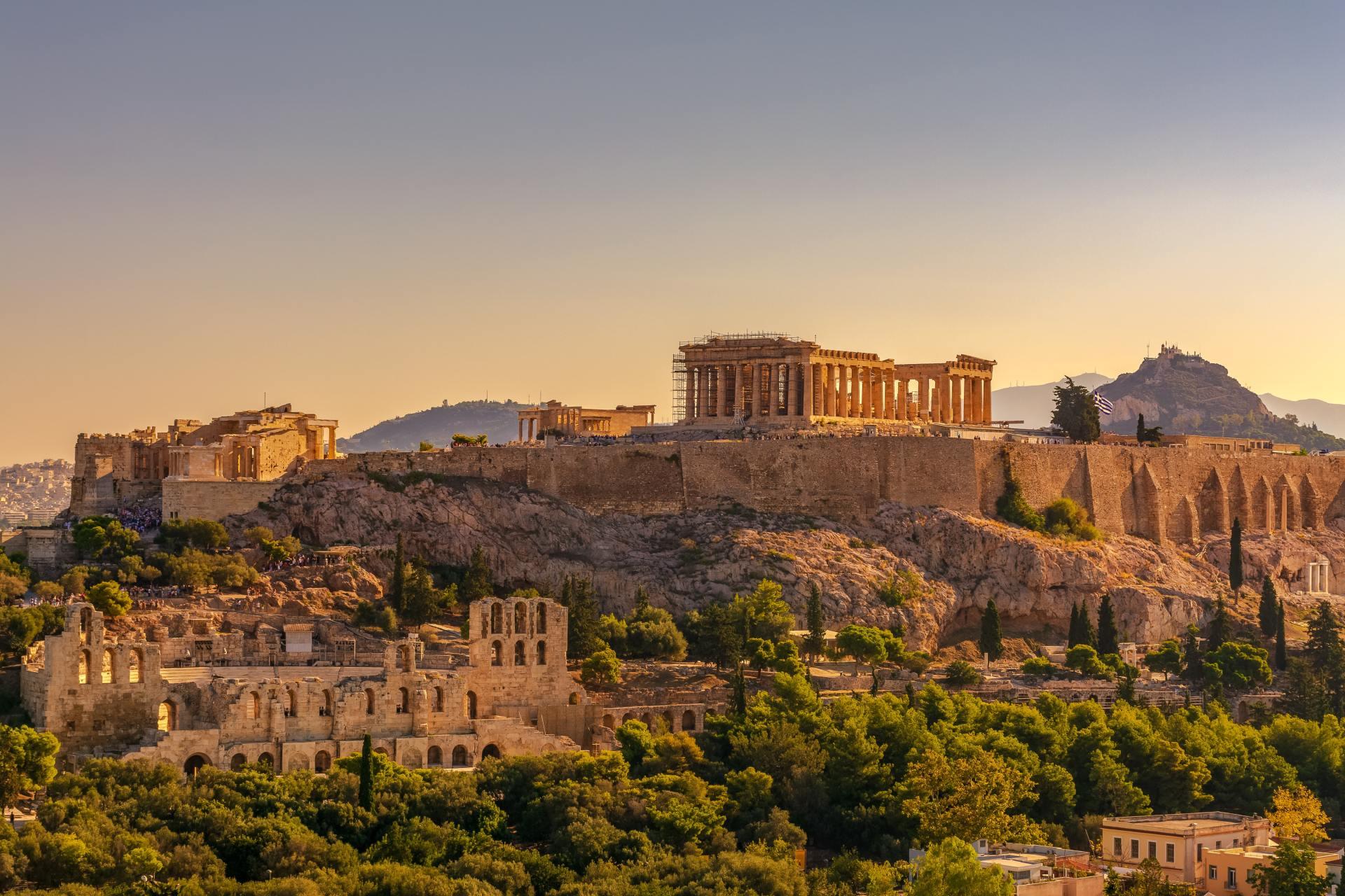 Ondergaande zon bij Acropolis Athene
