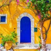Couleur Locale oude deur blauw