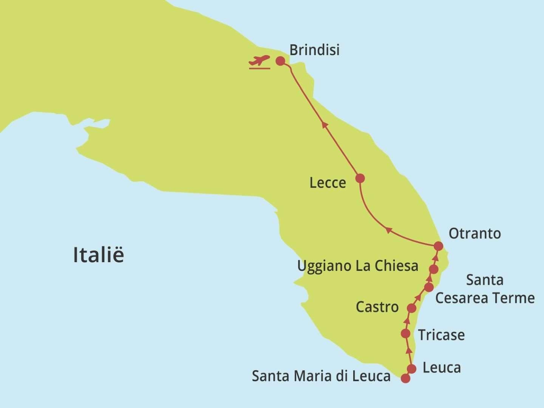 kaartje wonderlijk puglia, wandelen langs de zuidoostkust