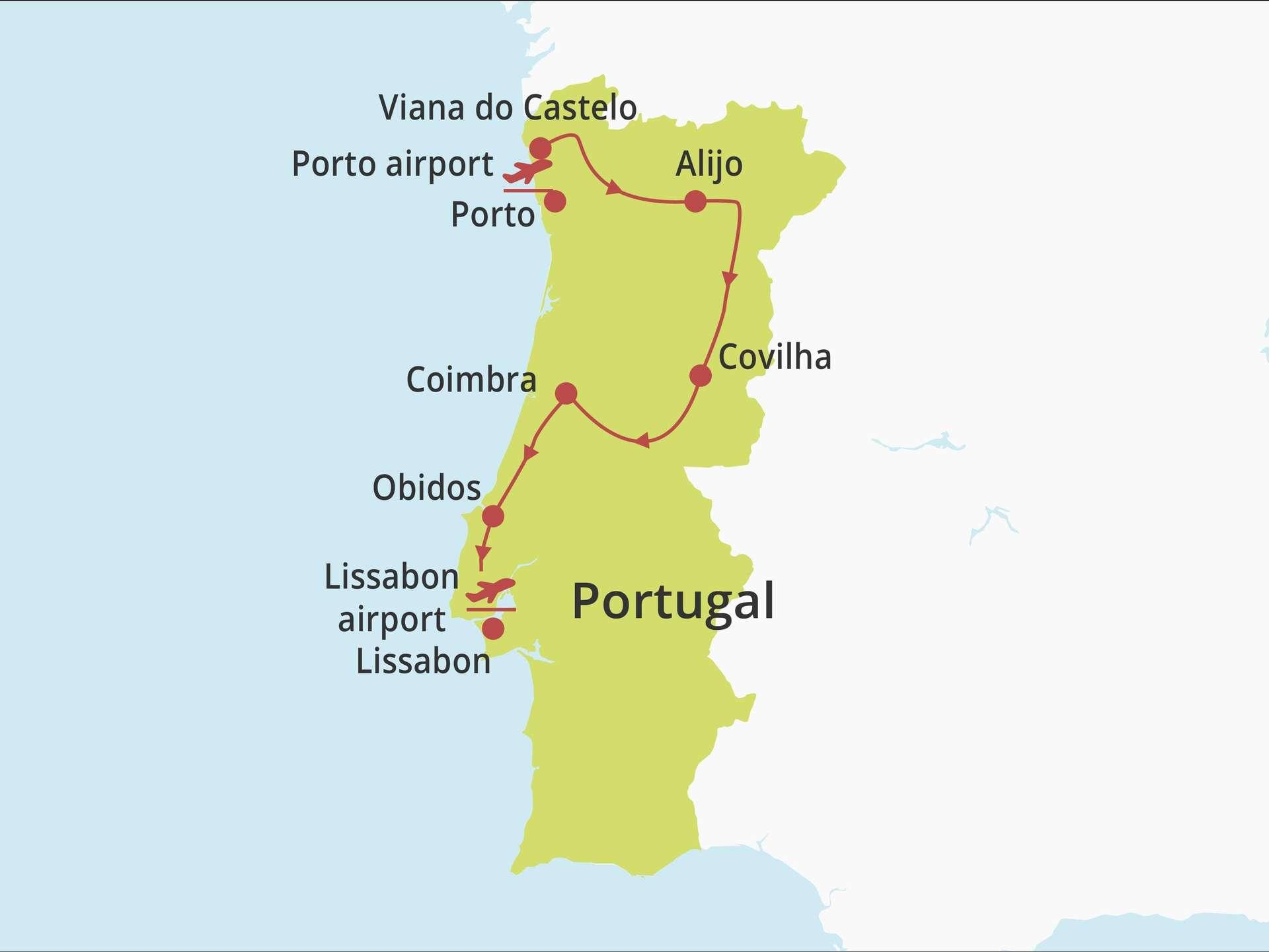 Fly-drive Noord, Centraal en Lissabon kust (pousadas) 11 dagen